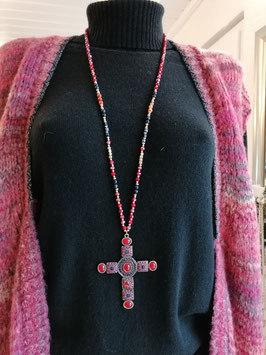 "Kette ""Cross Gold n´Red"""