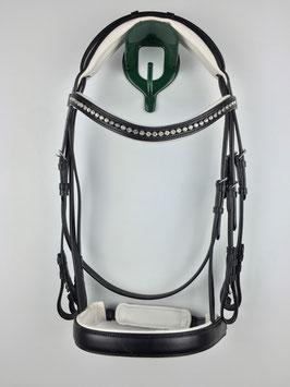schwarzer ergonomisch gepolsterter Kandarenzaum mit silberfarbenen Beschlägen