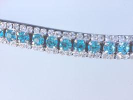 Stirnriemen Stirnband mit geschliffenen türkisfarbenen Kristallen geschwungen für Trensen und Kandaren
