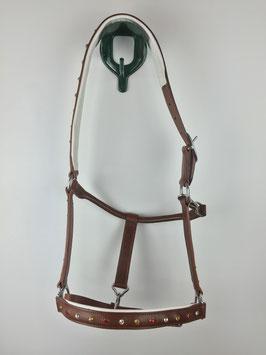 braunes Stallhalfter aus Leder mit eingearbeiteten Strasssteinen