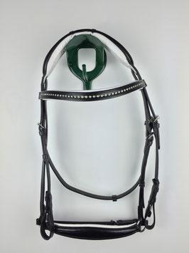 schwarzer ergonomisch gepolsterter Trensenzaum mit silberfarbigen Beschlägen hannoversches Reithalfter