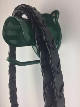 schwarze geflochtene Lederzügel für Trensen mit silberfarbenen Beschlägen