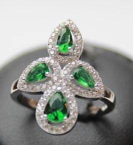 Anello losanga goccie color verde smeraldo disp. mis. 14