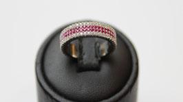 Eterne' pave' con fascia centrale color rosso rubino disp. mis. 11 ( su richiesta altre misure)