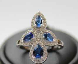 Anello losanga goccie color blu zaffiro disp. mis. 16