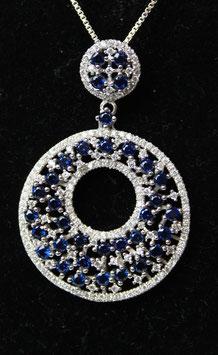 Pendente cerchio con foro centrale color Blu Zaffiro