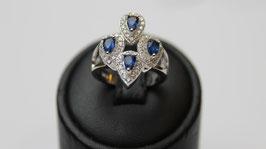 Anello losanga goccie color blu zaffiro disp. mis. 10 ( su richiesta altre misure)