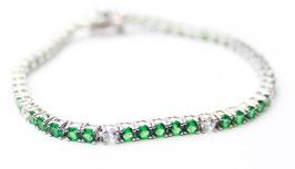 Bracciale tennis color verde Smeraldo e bianco disp mis. 18 (su richiesta altre misure)