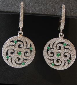 Orecchini Pendenti cerchio color verde Smeraldo