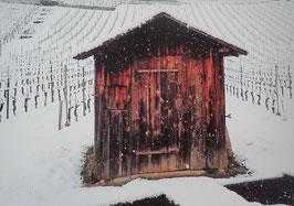 Tableau-haïku - Cabane sous la neige