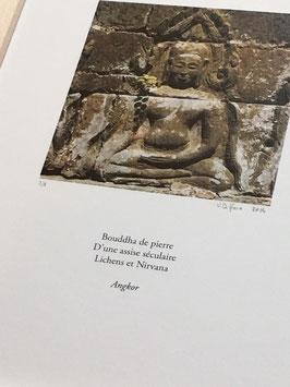 Tableau-haïku - Bouddha de pierre