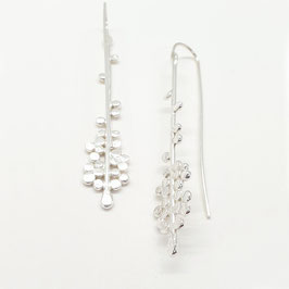 Sterling Silver Grass Seed Drop Earrings (Clustered)