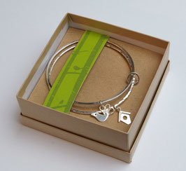 Double Silver Bangles With Bird Charms