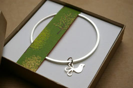 Sterling Silver Bangle With Bird Charm
