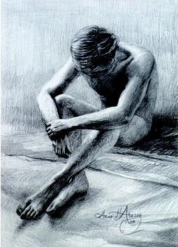 Cartes postales de dessins de nu masculin et de mains