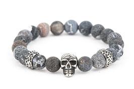 DANKRAD Achat schwarz 8 mm Perlen - Single Skull