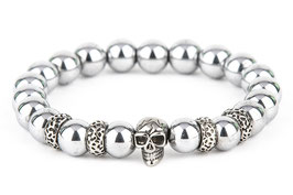DANKRAD Hämatit silber 10 mm Perlen - Single Skull