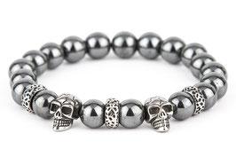 DANKRAD Hämatit grau 10 mm Perlen - Double Skull