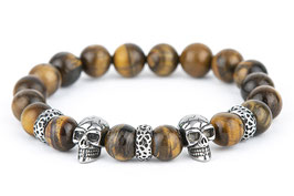 DANKRAD Tigerauge 10 mm Perlen - Double Skull