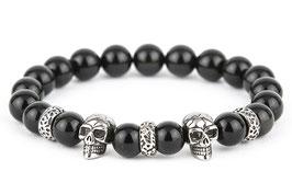 DANKRAD Obsidian 10 mm Perlen - Double Skull