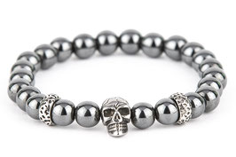 DANKRAD Hämatit grau 8 mm Perlen - Single Skull