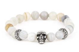 DANKRAD Achat weiß 8 mm Perlen - Single Skull