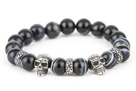 DANKRAD Achat schwarz 10 mm Perlen - Double Skull
