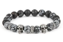 DANKRAD Schneeflocken-Obsidian 10 mm Perlen - Double Skull