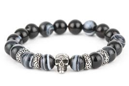 DANKRAD Achat schwarz 10 mm Perlen - Single Skull