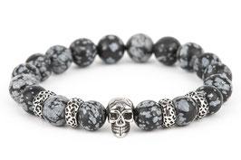 DANKRAD Schneeflocken-Obsidian 10 mm Perlen - Single Skull