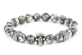 DANKRAD Jaspis 8 mm Perlen - Single Skull