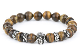 DANKRAD Tigerauge 10 mm Perlen - Single Skull
