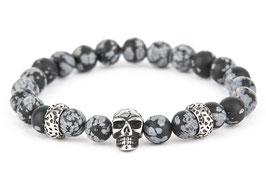 DANKRAD Schneeflocken-Obsidian 8 mm Perlen - Single Skull