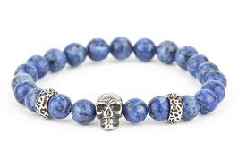 DANKRAD Naturstein Lapislazulioptik 8 mm Perlen - Single Skull