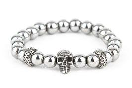 DANKRAD Hämatit silber 8 mm Perlen - Single Skull