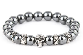 DANKRAD Hämatit grau 10 mm Perlen - Single Skull