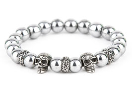 DANKRAD Hämatit silber 10 mm Perlen - Double Skull