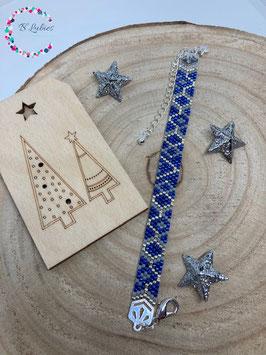 "BL-Bracelet argenté ""Bleu marine"""