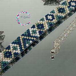"BL-Bracelet argenté ""Bleu Mer"""
