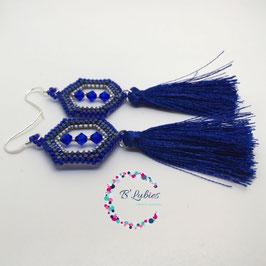 BL-Boucles d'Oreilles Bleu Electrique