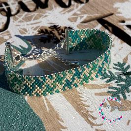 """BL-Bracelet Pied de Poule argenté """"Aqua-Emerald"""""""