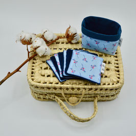 j&j_Ensemble petite panière et lingettes carré Collection Fleurs bleues japonaises