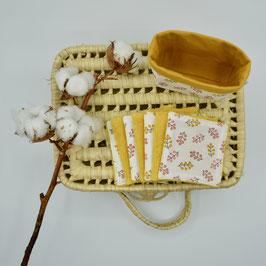 j&j_Ensemble petite panière et lingettes carré Collection Fleurs roses et moutardes