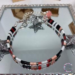 "BL-Bracelet argenté ""Rose-Rouge"""