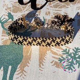 BL-Bracelet Pied de Poule doré Noir