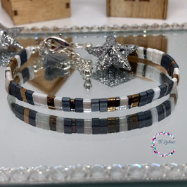 "BL-Bracelet argenté ""Dark Bronze"""