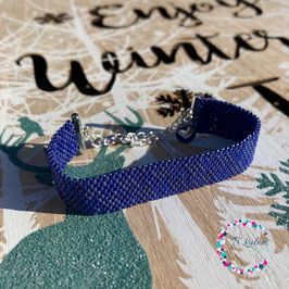 """BL-Bracelet Pied de Poule argenté """"Bleu royal"""""""