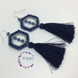 BL-Boucles d'Oreilles Bleu Roi