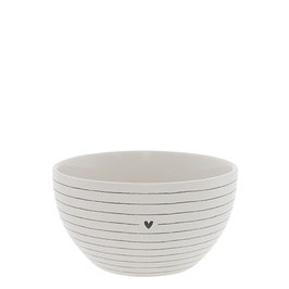 Bastion Bowl large Stripes & heart Black