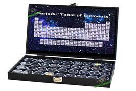 Elegante valigetta con 24 elementi della tavola periodica, purezza minima 99,9%